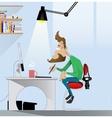 Digital art painter at work vector image vector image