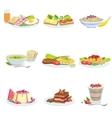 European Cuisine Dish Assortment Menu Items vector image vector image