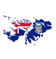 falkland islands silhouette flag map vector image
