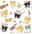 funny cats seamless pattern background vector image