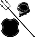 gladiators helmet and trident with shield vector image vector image