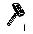 hammer with pin icon black vector image vector image