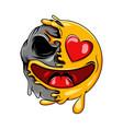 happy love emoticon with love eyes vector image