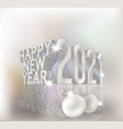 happy new 2021 year 3d card with xmas ball vector image vector image