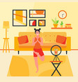 happy woman doing yoga online with smartphone in vector image