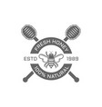 honey and bee isolated emblem on white vector image vector image
