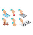 isometric hand indicates gesture set vector image