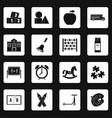 kindergarten symbol icons set squares vector image vector image