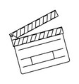 line clapper board action video filmstrips vector image vector image