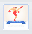 man in red boxing gloves training karate fighter vector image