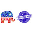 mosaic republican elephant icon with grunge united vector image vector image