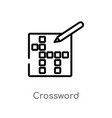 outline crossword icon isolated black simple line vector image vector image