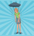 pop art depressed young woman under the rain vector image vector image