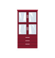 red closet with glass doors and drawers vector image vector image