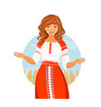 russian costume girl vector image vector image