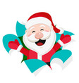 santa claus tore the white paper and smiles vector image vector image