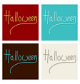 set of happy halloween lettering holiday vector image