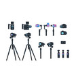 set professional camera equipment motorized gimbal vector image