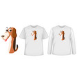 set two types shirt with dog in number one vector image
