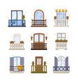 set windows and balconies exterior architecture vector image