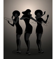 silhouettes of three dancer and soul singer vector image vector image