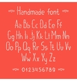 Simple romantic hand drawn font with hearts vector image