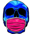 skull face in medical face mask vector image vector image