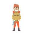 smiling climber man in sunglasses with equipment vector image vector image