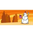 Snowman Santa with gift cartoon card vector image vector image