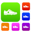 soccer shoe set color collection vector image vector image