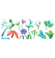 spring grass and flowers cartoon 3d icon set vector image