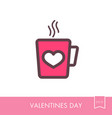 tea cup with heart and steam thin line icon vector image