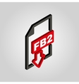The FB2 icon 3D isometric file format symbol vector image