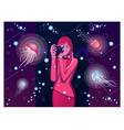 the girl in the oceanarium photographs jellyfish vector image vector image