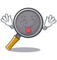 tongue out frying pan cartoon character vector image