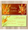 Wedding invitation card with red iris flower vector image vector image