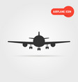 black airplane icon with shadow vector image
