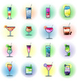 set of cocktails on a color background vector image