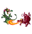 Funny dragons are playing with fire vector image