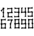 graphic black silhouette bone numbers set vector image