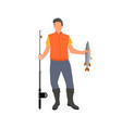 adult man with catched fish isolated on white vector image vector image