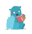 Bear parent reading book to kid vector image vector image