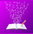 book with flying letters vector image vector image