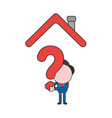 businessman character holding question mark under vector image vector image