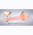champagne glass bellini cocktail and rose ribbon vector image