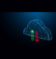cloud data storage icon form lines and particle vector image