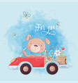 cute cartoon dog on a truck with flowers postcard vector image vector image