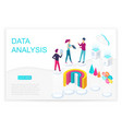 data analysis isometric landing page vector image vector image
