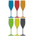Different colors of wine glasses vector image vector image