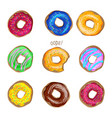 donut set isolated on white background vector image